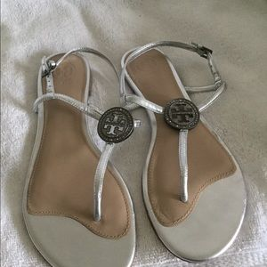 Tory Burch women's Silver strap sandals size 8 M